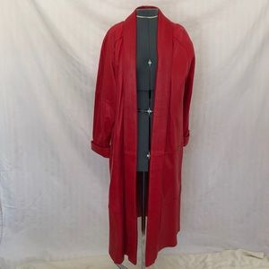Preston And York lined Red Leather Long Coat
